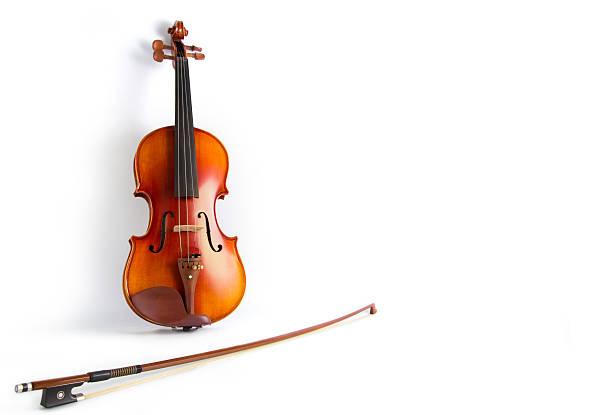 Violine und Schleife auf weißem Hintergrund – Foto