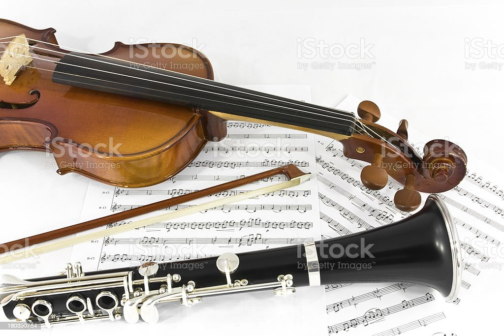 Violin and Clarinet instrument on sheet music stock photo