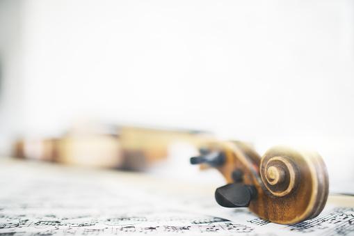 Violin and music sheets