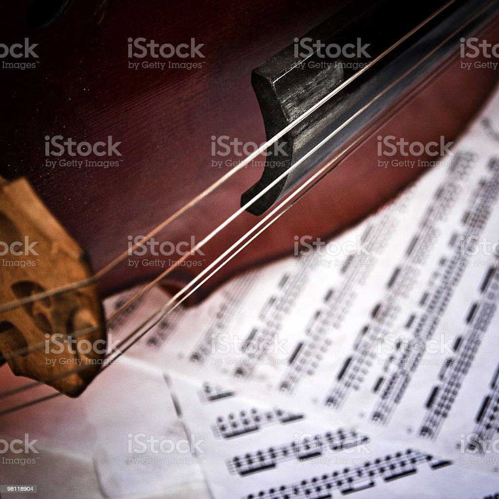 Violin and musical notes royalty-free stock photo
