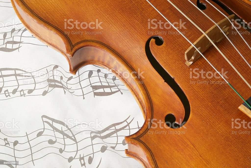 Violin and notes background stock photo