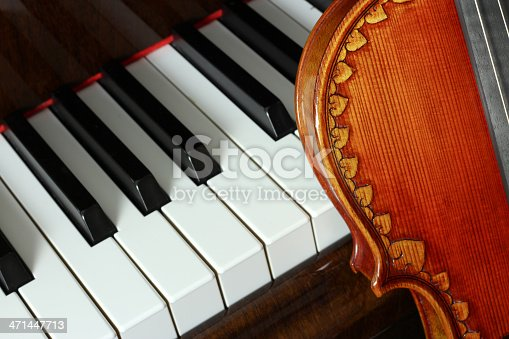 Violin next to the piano keyboard. The violin is allegedly a copy of the 1703 instrument by Antonio Stradivari (Stradivarius), referred to as