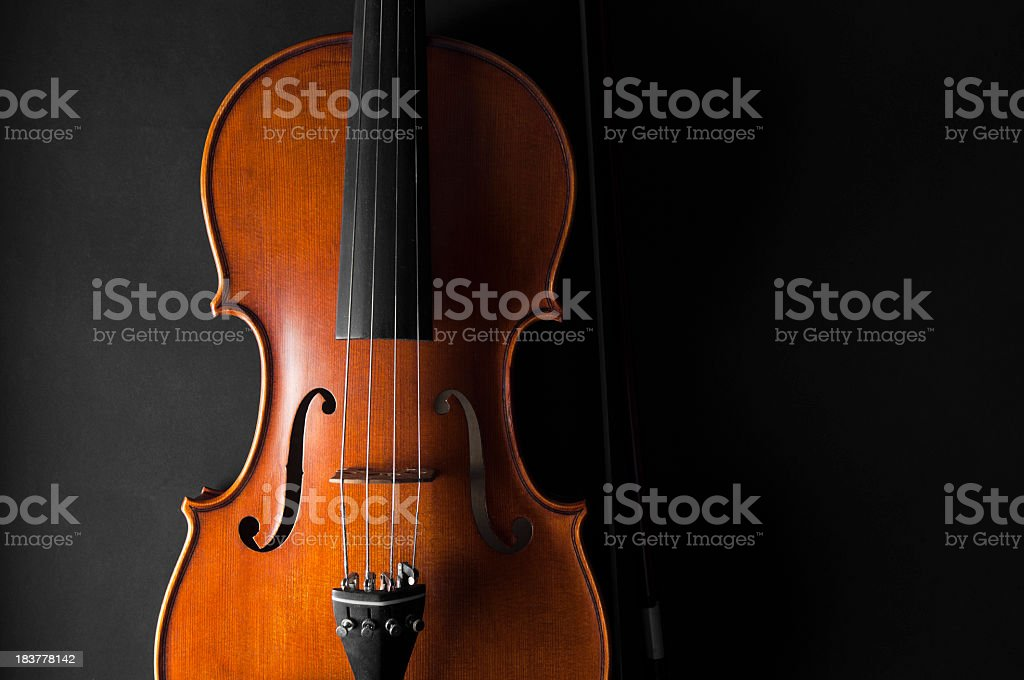 Violin, black background stock photo