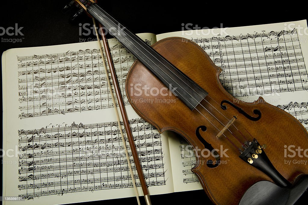 Violin, Bow and Score royalty-free stock photo