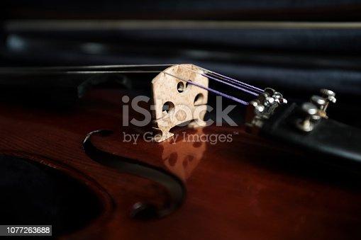 Close up violin bridge