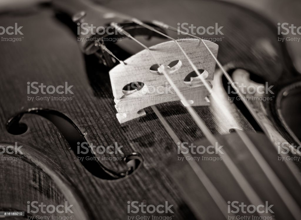 Violin bridge toned photo stock photo
