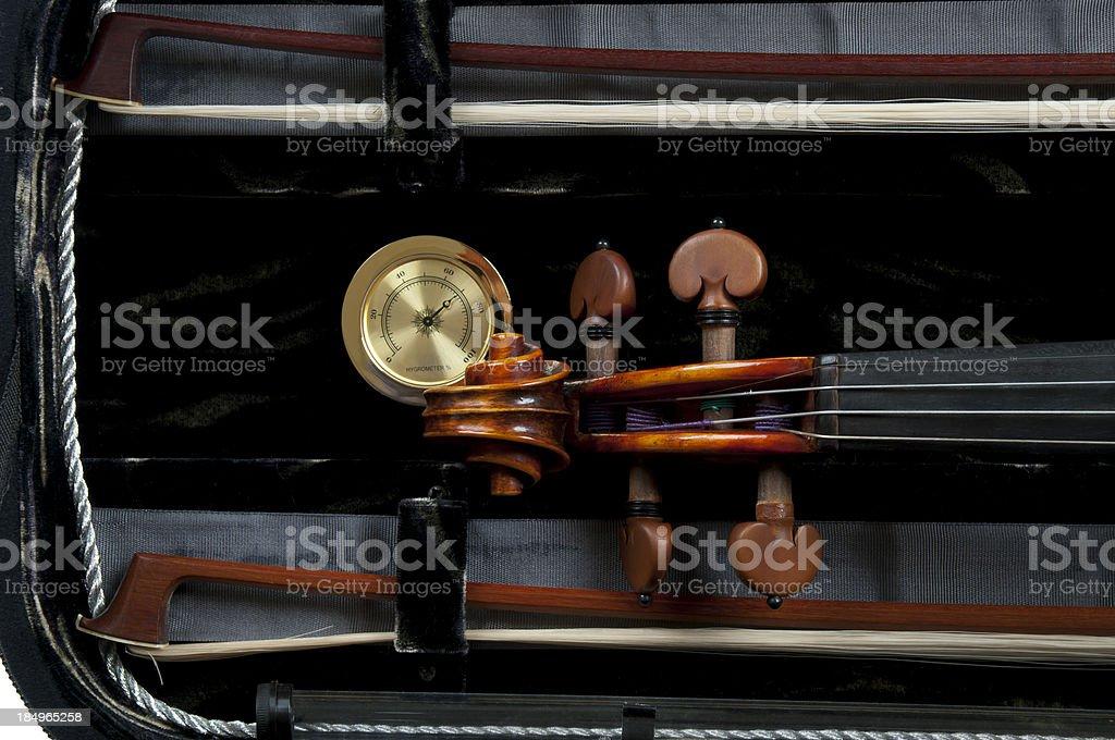 Violin Case and Hygrometer stock photo