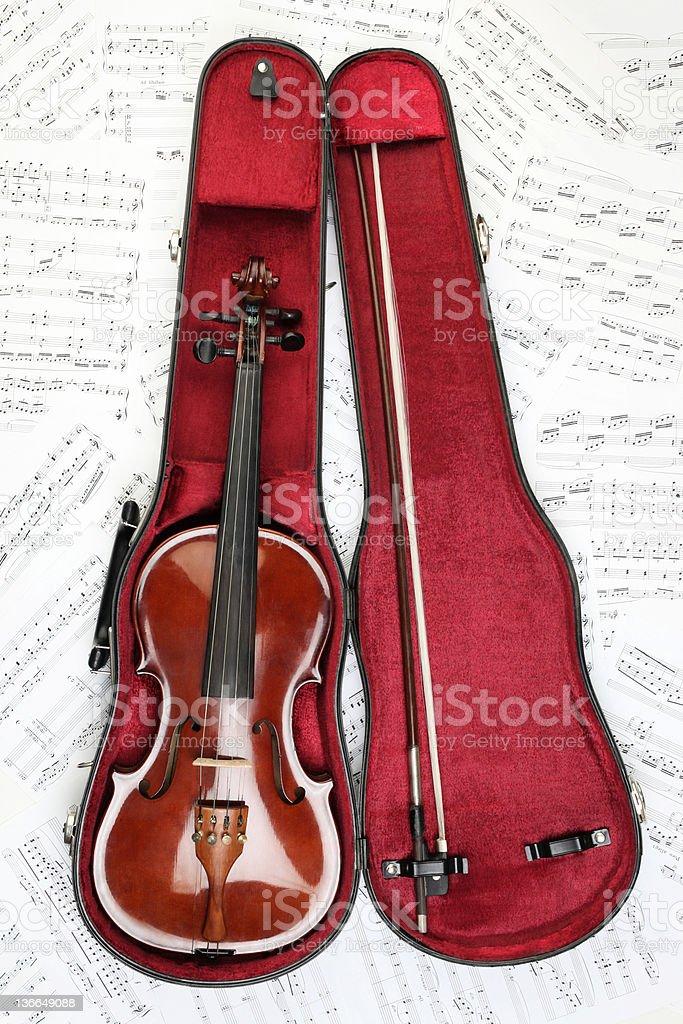 Violin case notes stock photo