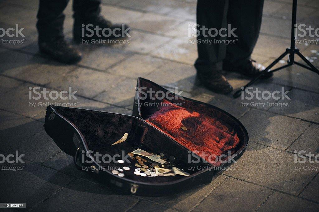 Violin case with money stock photo