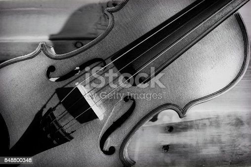 istock Violin close-up in black and white. 848800348