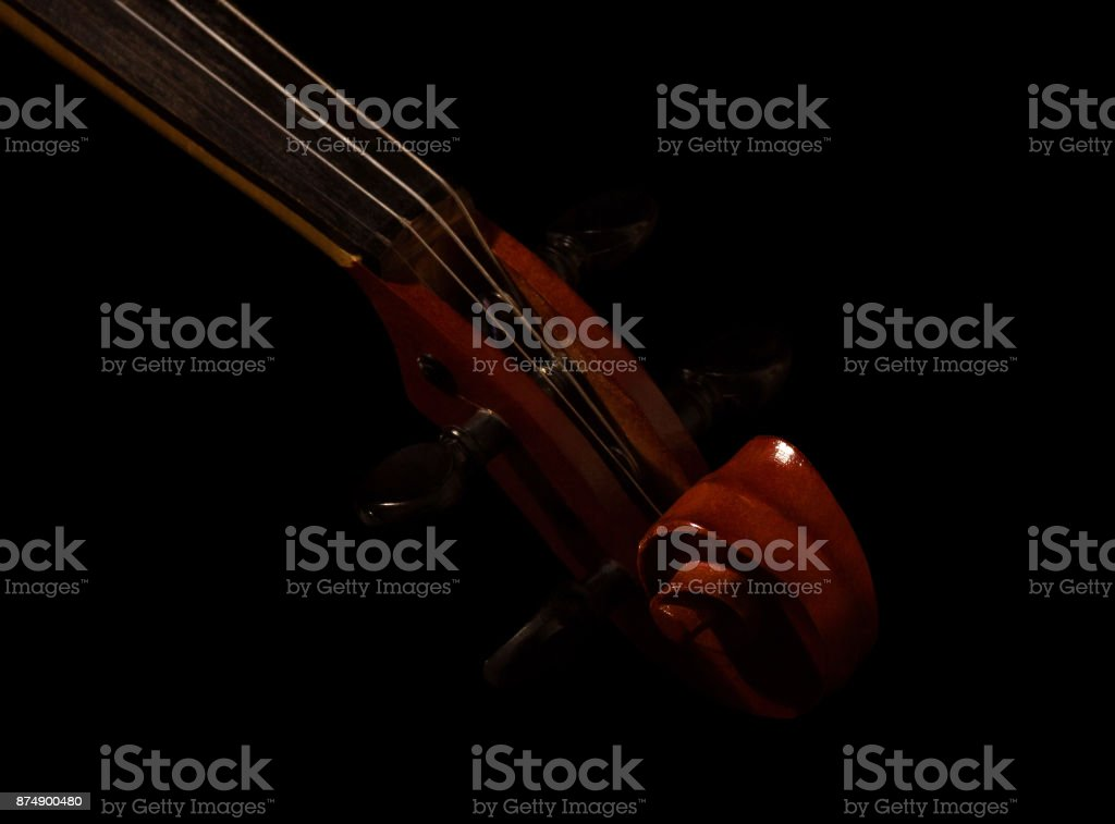 Violin fingerboard with strings, isolated on black stock photo