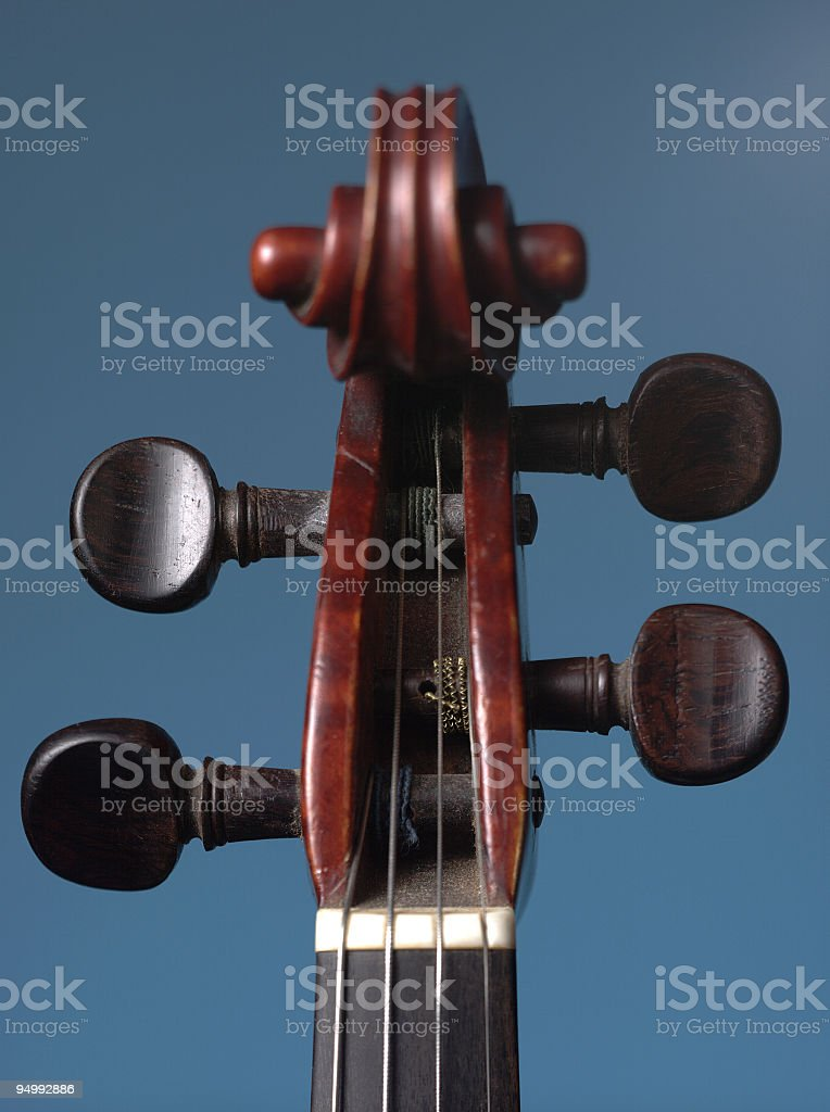 Violin head, scroll part and pegbox, detail stock photo