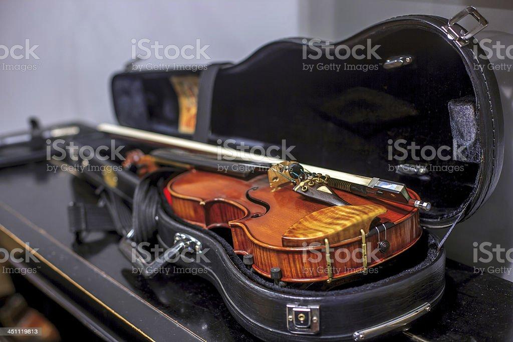 Violin in a case stock photo