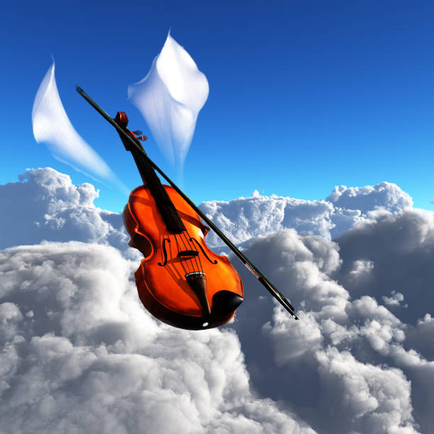 Violin in clouds stock photo