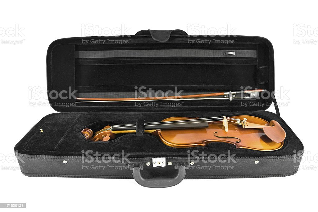 Violin in its case stock photo