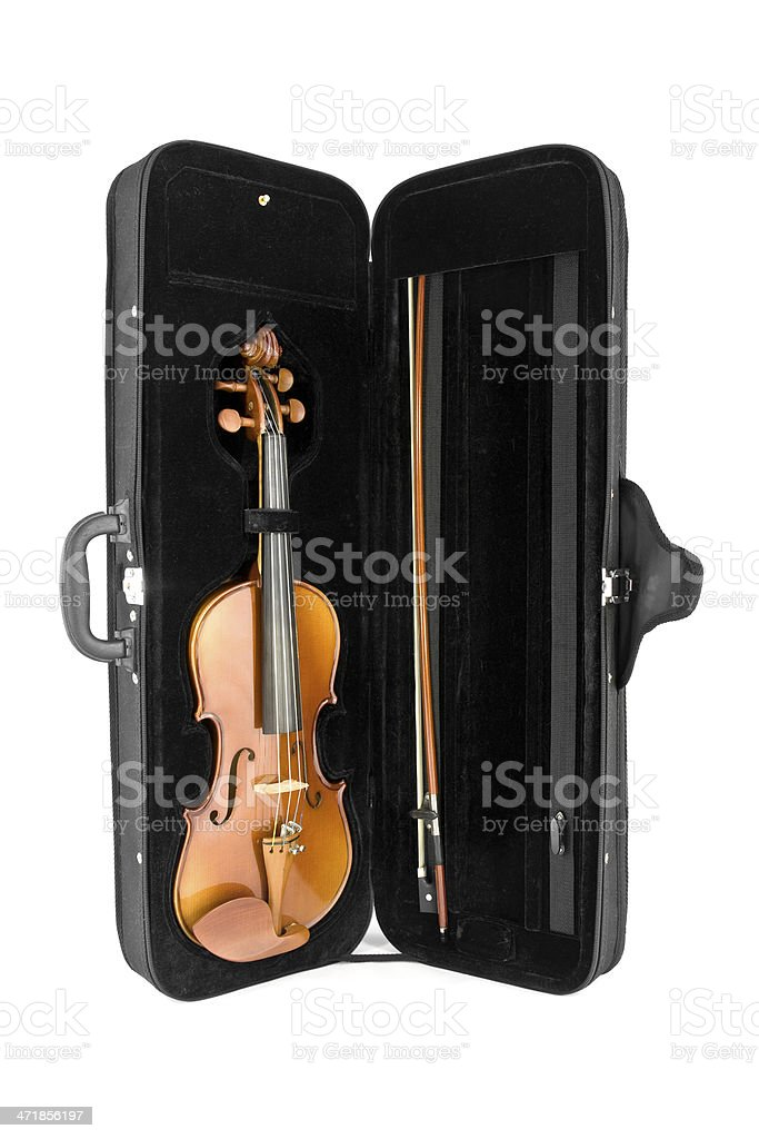Violin in its case posed to the vertical stock photo