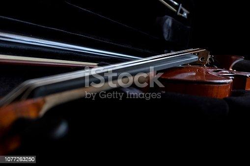 Close up violin in violin case