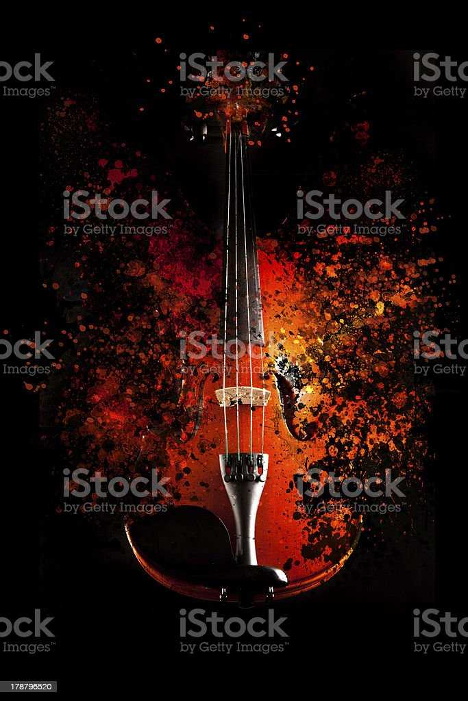 Violin is exploding stock photo