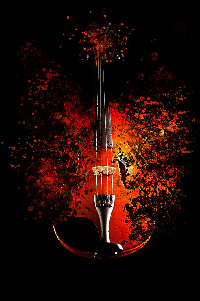Violin is exploding Violin is exploding - dispersion effect - string instrument stock pictures, royalty-free photos & images