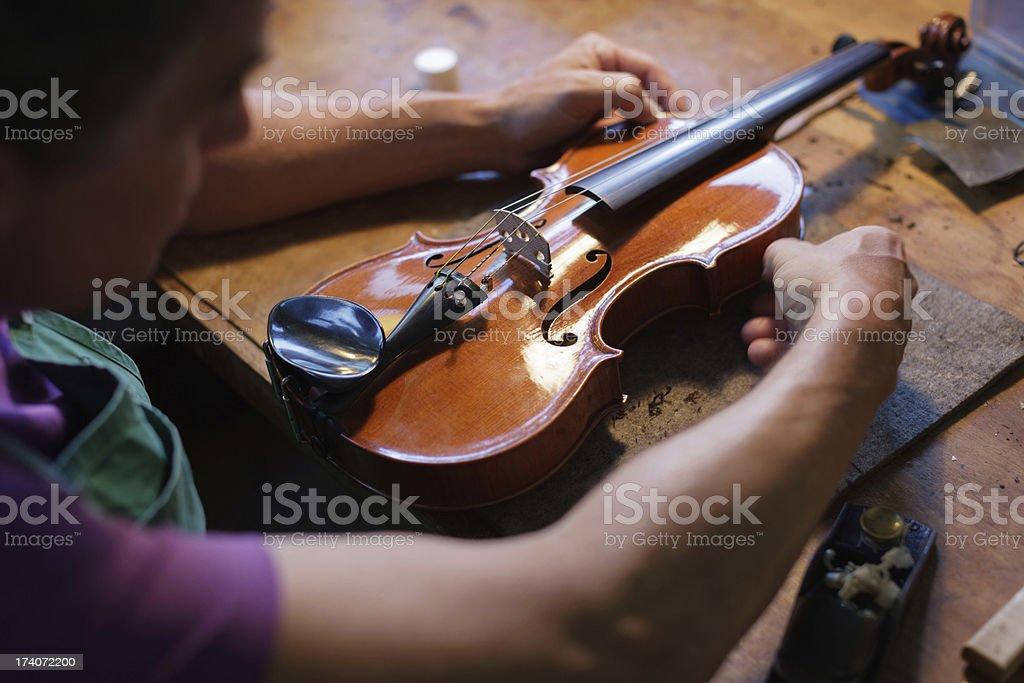 Violin Maker Building an Instrument stock photo
