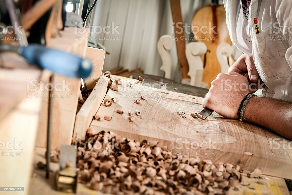 Violin maker portrait stock photo