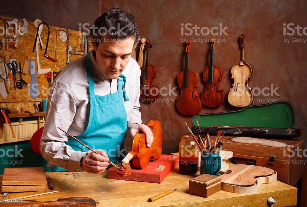 Violin Maker's Studio stock photo