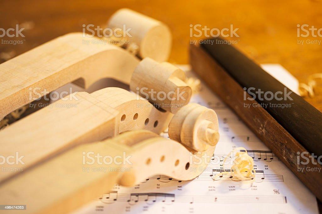 Violin Maker's Table royalty-free stock photo