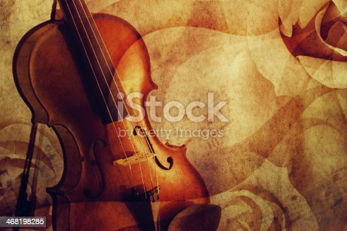 Violin on a romantic grunge background.