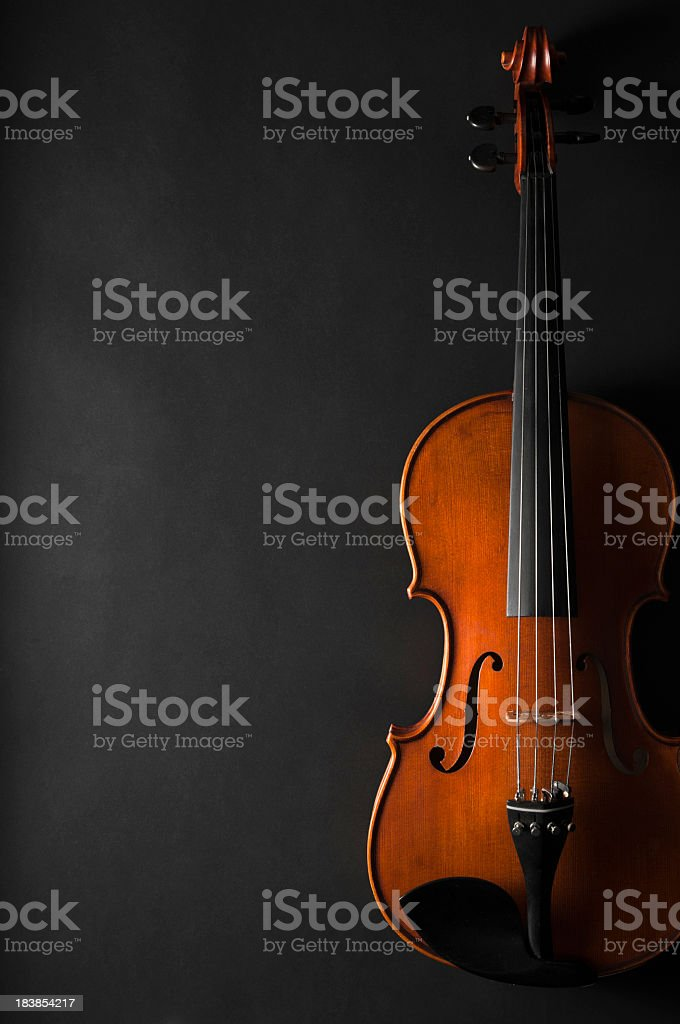 Violin on black background stock photo