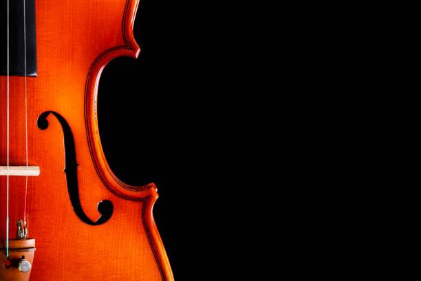 geige auf schwarzem hintergrund - philharmonie stock-fotos und bilder