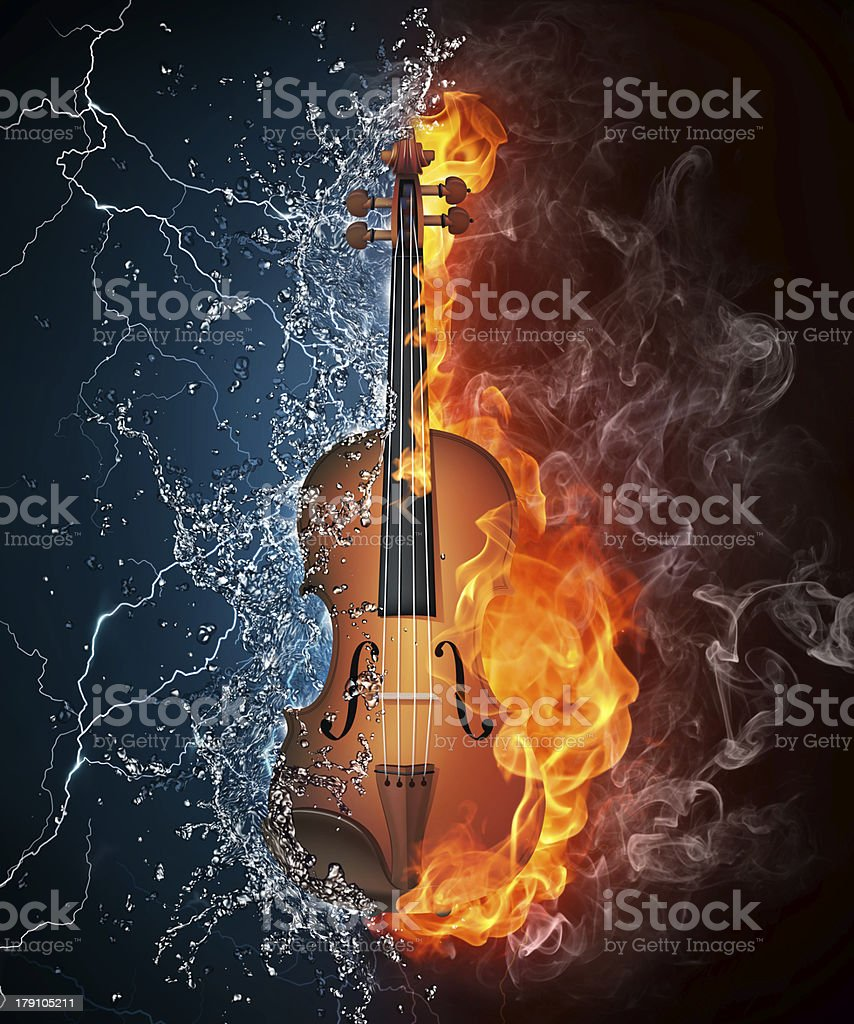 Violin on Fire and Water stock photo