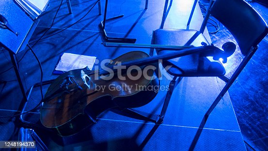 Details with the scroll, peg box, tuning pegs, strings, neck and fingerboard of a violin before a symphonic classical concert