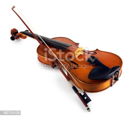 Close-up of a violin with bow isolated on white background