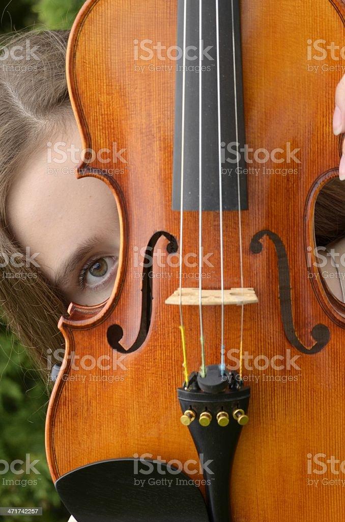 Violin peek royalty-free stock photo