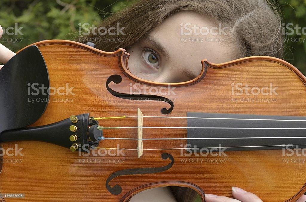 Violin peek-horizontal royalty-free stock photo