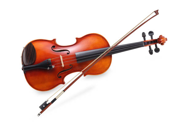 Violin Violin with  bow isolated on white background with clipping path string instrument stock pictures, royalty-free photos & images