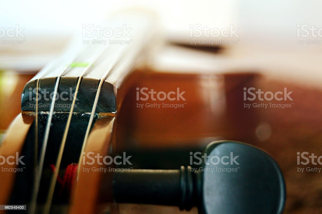 Violin shot laterally with focus on strings near edge. stock photo