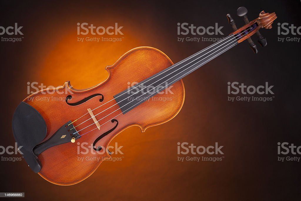 Violin Viola Isolated Against Gold royalty-free stock photo