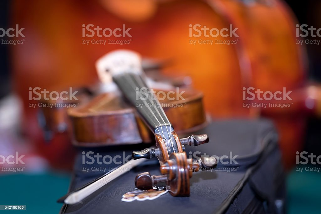 Violin with blur background stock photo