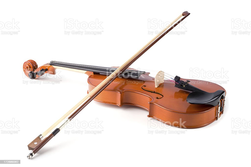 Violin with bow isolated on white stock photo