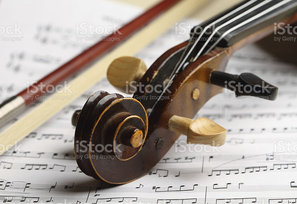Violin with bow royalty-free stock photo