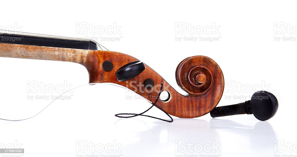 Violin with broken string stock photo