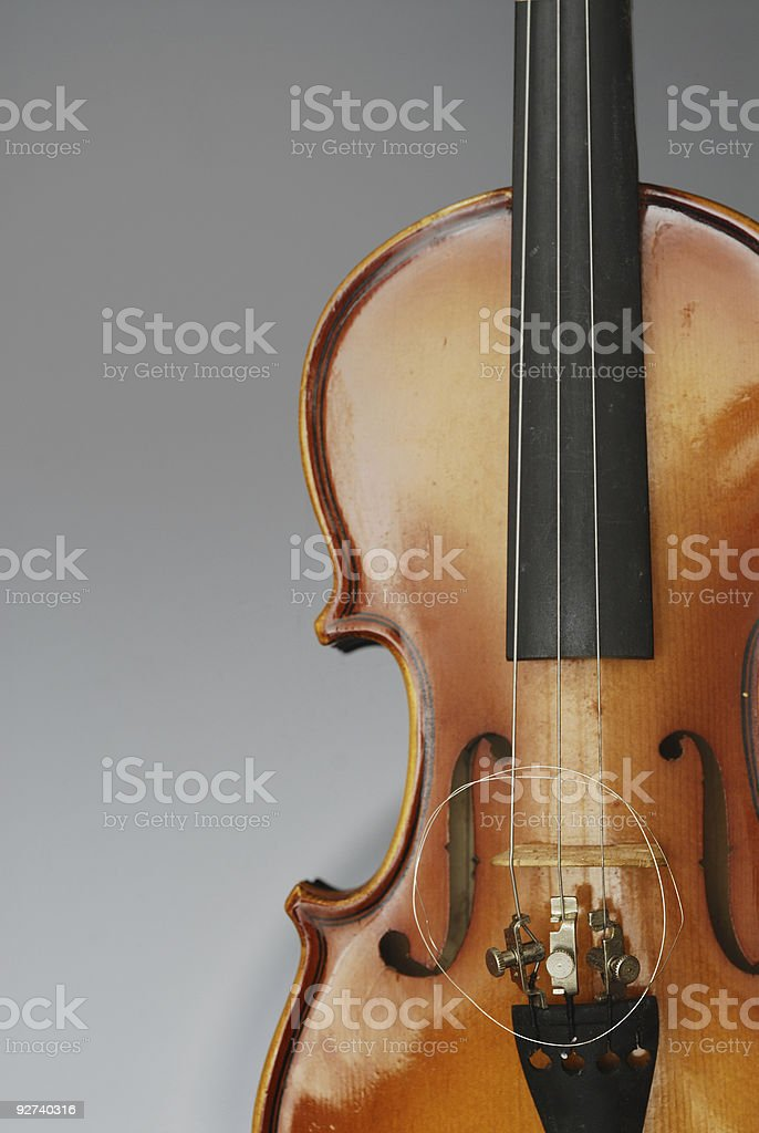 Violin with three strings stock photo