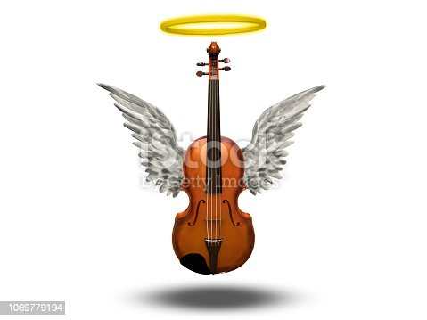 istock Violin with wings and halo on white 1069779194