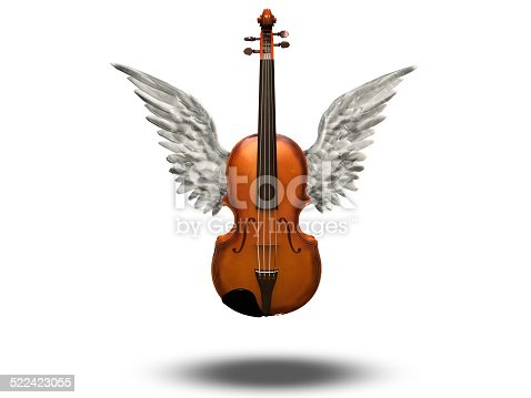 istock Violin with wings on white 522423055