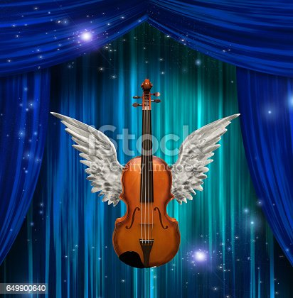 istock Violin with wings 649900640