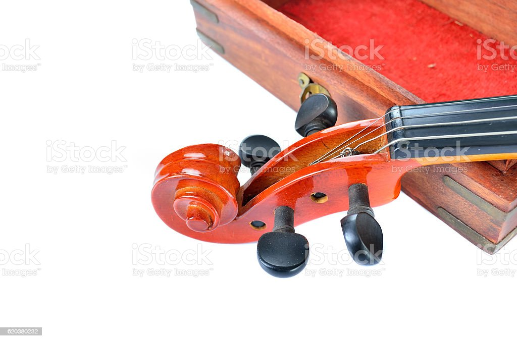 Violin with wooden box isolated on white background. Music concept zbiór zdjęć royalty-free