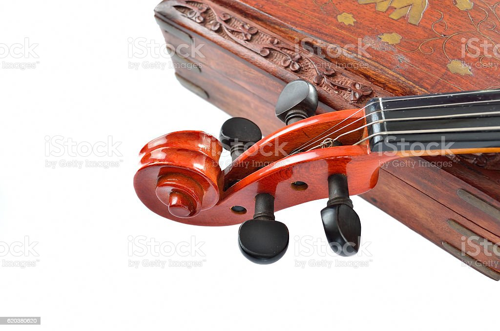 Violin with wooden box isolated on white background. Music concept foto de stock royalty-free
