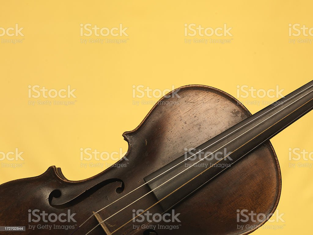 Violin Yellow Background royalty-free stock photo
