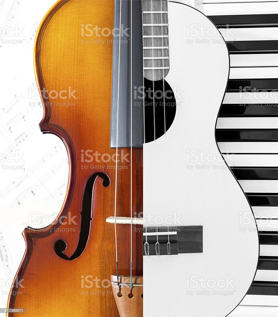 violin,guitar,piano,musicsheet stock photo